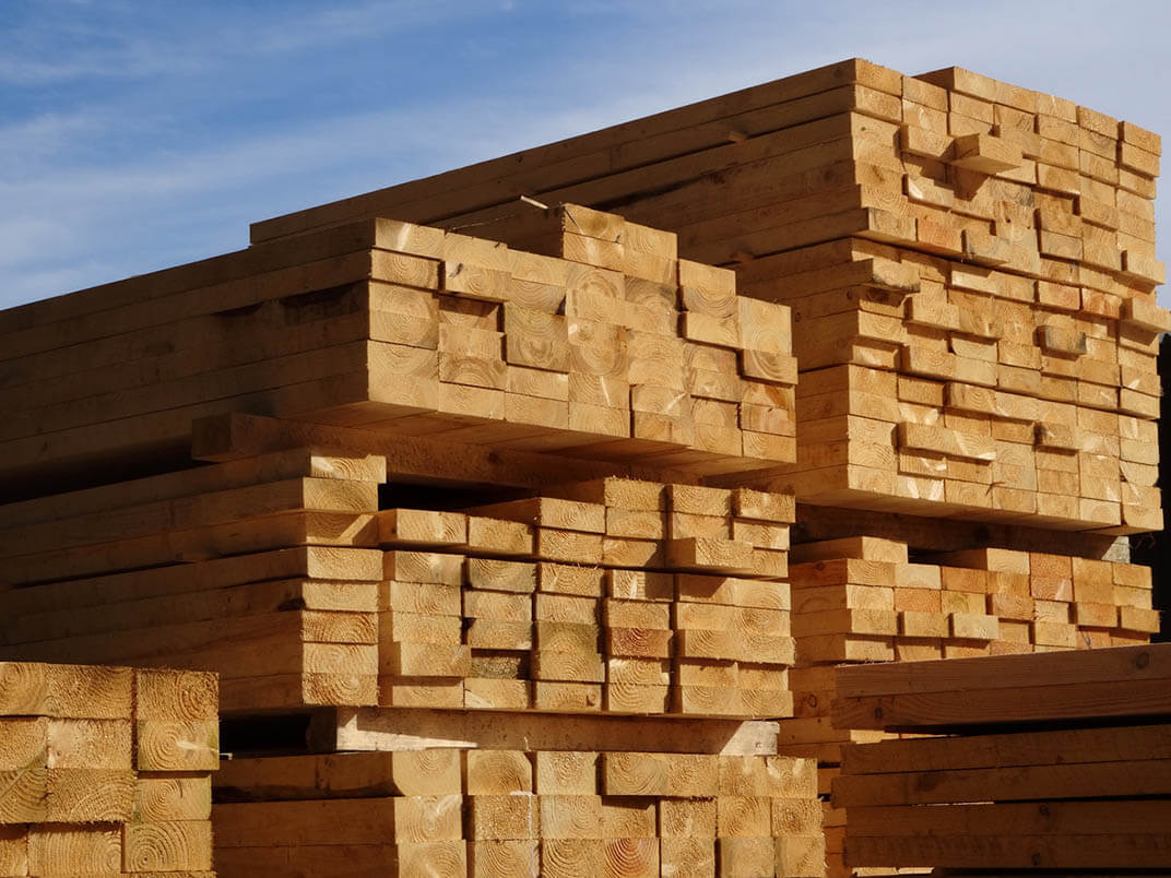a view of a lumber pile